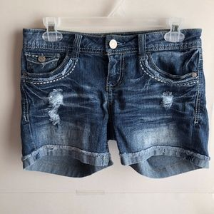 WALLFLOWER Ripped Distressed Denim Jean Shorts 7